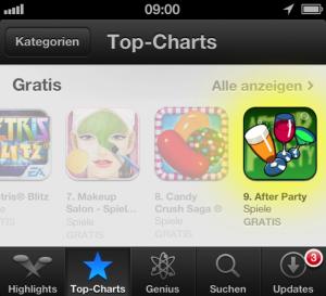 After Party Spiel zeitweilig in den Download-Rängen im App Store auf Platz 8