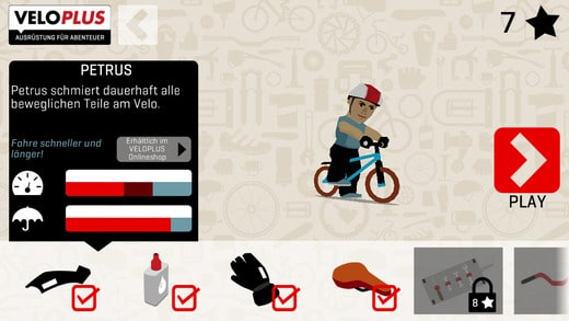 Veloplus game: equipment screen with product placements