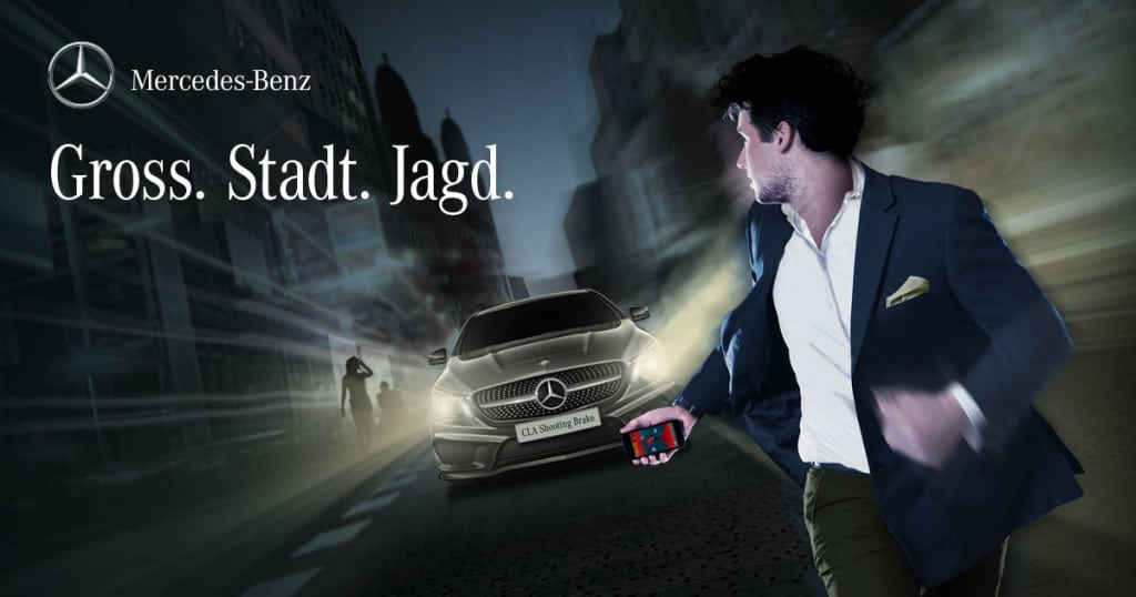 Promotion image for Gross. Stadt. Jagd. featuring the hunter car