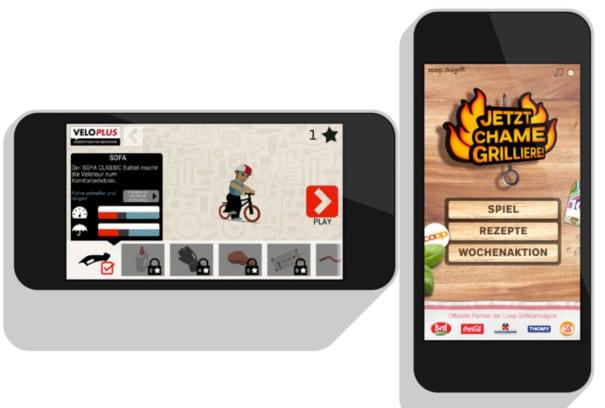 Kombination aus Nutzen und Spass: Die Apps Veloplus* und Coop Grill reichern ihre bestehende Funktionalität mit einem spielerischen Element an.