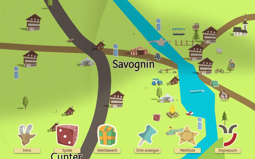 Close-up village in Savognin in Turba und Tschepp