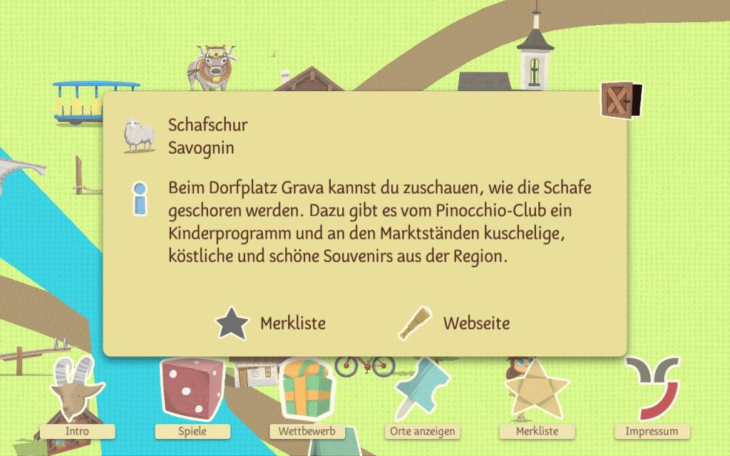 Point of interest information screen in Turba und Tschepp